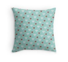 Retro Ice Cream & Drugs Pattern Only (Blue) Throw Pillow