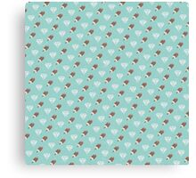 Retro Ice Cream & Drugs Pattern Only (Blue) Canvas Print