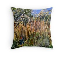 Hidden Life in the Swamp by Gidja Walker (Purple Swamp Hen) Set 2 of 3 Throw Pillow