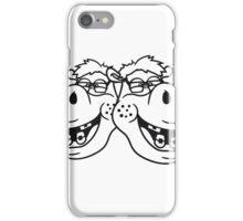 team freunde 2 paar duo kopf gesicht nerd geek schlau freak dumm pickel zahnspange hornbrille lustig nilpferd glücklich  iPhone Case/Skin