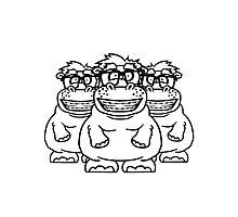 team 3 freunde crew party gruppe nerd geek schlau hornbrille freak dumm zahnspange lustigesdickes comic cartoon nilpferd fett hippo  Photographic Print