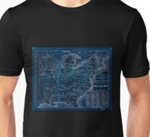 0028 Railroad Maps Tunis new colored rail road map of the United States Canadas revised and corrected every Inverted Unisex T-Shirt