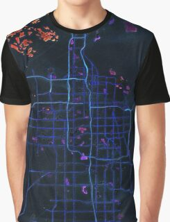 Dark map of Salt Lake City Graphic T-Shirt
