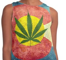 Retro Colorado State flag with the leaf - Marijuana leaf that is! Contrast Tank