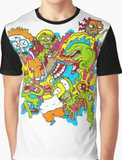 Monster Mayhem Graffiti Splash Mountain Graphic T-Shirt