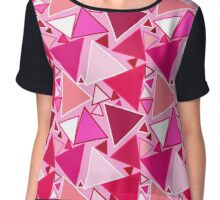 Mid-Century Modern Triangles, Pink and Burgundy Chiffon Top