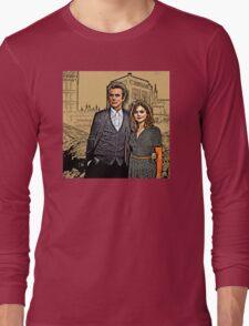 Doctor and Clara Mixed Sketch Long Sleeve T-Shirt