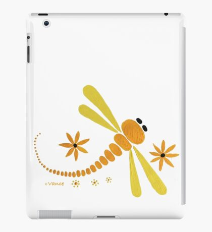 Yellow Dragonfly Dance Party iPad Case/Skin