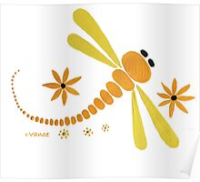 Yellow Dragonfly Dance Party Poster