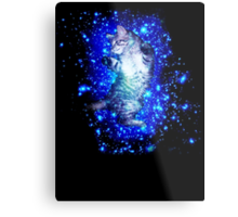 Psychedelic Galaxy Cat in space Metal Print