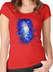 Psychedelic Galaxy Cat in space Women's Fitted Scoop T-Shirt