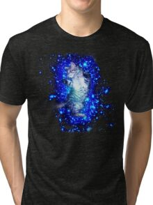 Psychedelic Galaxy Cat in space Tri-blend T-Shirt