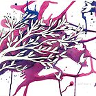 Pink and Purple Leafy Tree with Birds by RachelSheree