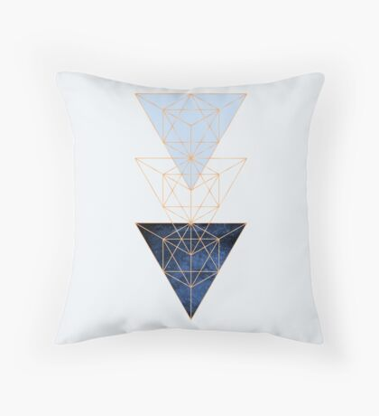 Geometric Triangles in Blue and Rose Gold Throw Pillow