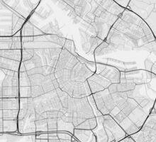 Amsterdam, Netherlands Map. (Black on white) Sticker