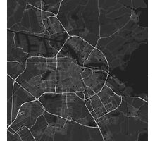 Amsterdam, Netherlands Map. (White on black) Photographic Print