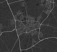 Breda, Netherlands Map. (White on black) by Graphical-Maps