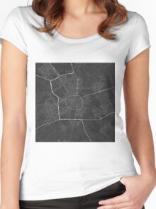 Eindhoven, Netherlands Map. (White on black) Women's Fitted Scoop T-Shirt