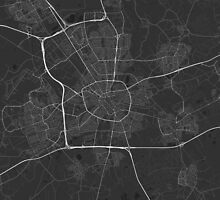 Eindhoven, Netherlands Map. (White on black) by Graphical-Maps