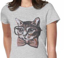 Nerd Cat Womens Fitted T-Shirt