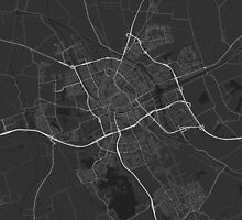 Groningen, Netherlands Map. (White on black) by Graphical-Maps