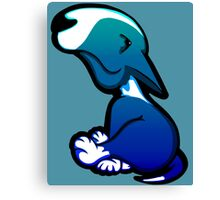 Innocent Bull Terrier Aqua Flush Puppy  Canvas Print
