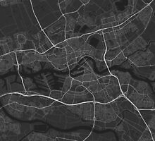 Rotterdam, Netherlands Map. (White on black) by Graphical-Maps