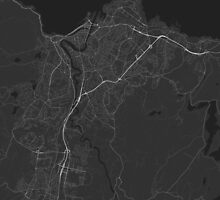 Trondheim, Norway Map. (White on black) by Graphical-Maps