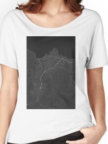 Trondheim, Norway Map. (White on black) Women's Relaxed Fit T-Shirt