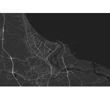 Gdansk, Poland Map. (White on black) Photographic Print