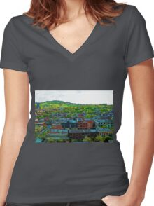 Montreal Suburb Women's Fitted V-Neck T-Shirt