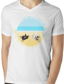 French Bulldogs Rolling In Sand Mens V-Neck T-Shirt