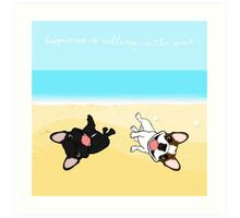 French Bulldogs Rolling In Sand Art Print