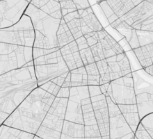 Warsaw, Poland Map. (Black on white) Sticker