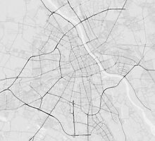 Warsaw, Poland Map. (Black on white) by Graphical-Maps