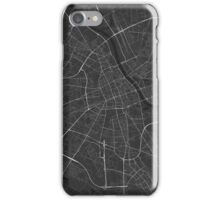 Warsaw, Poland Map. (White on black) iPhone Case/Skin