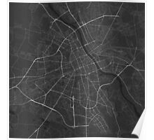 Warsaw, Poland Map. (White on black) Poster