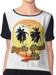 MYRTLE BEACH SOUTH CAROLINA BEACH PALM TREE OCEAN SCENE Chiffon Top