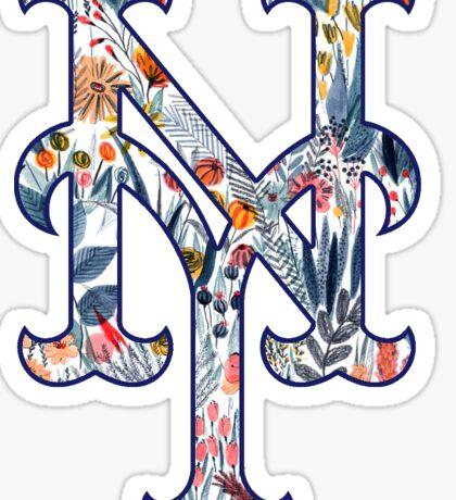 New York Mets Floral Logo Sticker