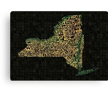 New York State Typographic Topography Map Canvas Print