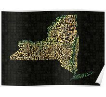New York State Typographic Topography Map Poster
