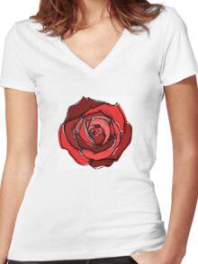 Mixed Media Red Rose Flower Women's Fitted V-Neck T-Shirt