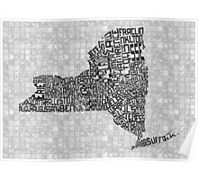 New York State Typographic Map Poster