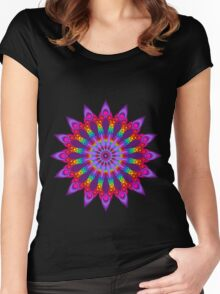 Woven Rainbow Fractal Flower Women's Fitted Scoop T-Shirt