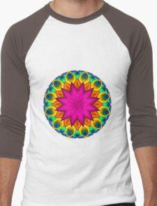 Peacock Fractal Flower I Men's Baseball ¾ T-Shirt