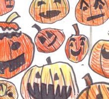 Halloween Jack O Lantern Doodle Pattern Sticker