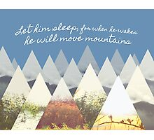 He Moves Mountains - Blue Horizontal Photographic Print