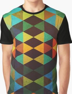 Abstraction #115 Green Orange Yellow Triangle Graphic T-Shirt