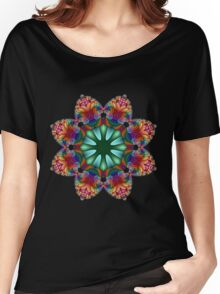 Satin Rainbow Fractal Flower I Women's Relaxed Fit T-Shirt