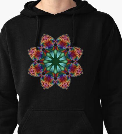 Satin Rainbow Fractal Flower I Pullover Hoodie